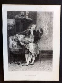 After Boldini C1860 Art Journal Print. The Connoisseur. Etching